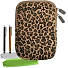 ColorYourLife Bundle of Canvas Fabric Leopard Print Tablet Sleeve Case Bag for Samsung Galaxy Tab 3 Barnes & Noble NOOK HD Google Nexus 7 (2013) 7-inch tablets with 2 Stylus Pens and Microfiber Cleaning Cloths (Leopard print, 7 inch)