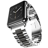 U191U Band Compatible with Apple Watch 42mm Stainless Steel Wristband Metal Buckle Clasp iWatch Strap Replacement Bracelet for Apple Watch Series 3/2/1 Sports Edition (Silver/Black, 42MM) (Color: Silver/Black, Tamaño: 42 mm)