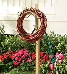 Handy Hose Hanger Post with Faucet and 5' Lead Hose Hookup, in Taupe