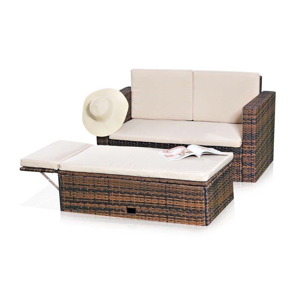 Gartenmöbel Lounge Sofa mit klappbarer Bank / Tisch in braun aus Polyrattan jetzt kaufen