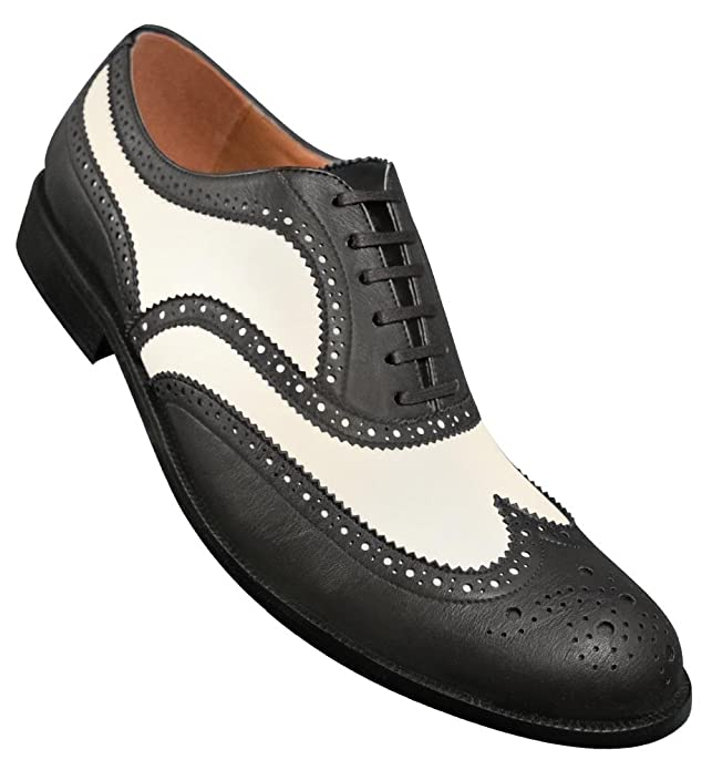 DressinGreatGatsbyClothesforMen Aris Allen Mens 1950s Black and White Wingtip Dance Shoe $84.95 AT vintagedancer.com