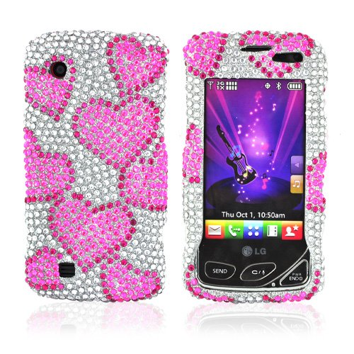 FOR LG CHOCOLATE TOUCH VX8575 BLING CASE PINK HEARTS