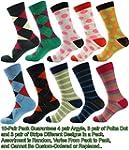 Mens Designer Dress Socks 10 Pair