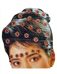 DollsofIndia Golden And Red Color Stone Studded Stick-on Hair, Forehead And Ear Decoration For Brides (Can Be...