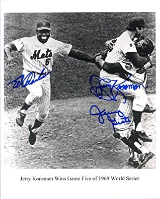 1969 World Series Celebration 8x10 Photo Autographed/ Original Signed by Three New York Mets - Jerry Koosman, Jerry Grote and Ed Charles