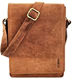 "LEABAGS - Small Messenger Bag ""DOVER"" 20x26x7 cm Retro Vintage Style Genuine Buffalo Leather Unisex Shoulder College Office Cross-Body Flapover Bag"