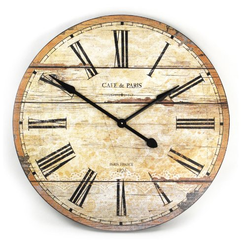 Cafe de Paris Rustic French Cottage Style Old Wood Wall Clock