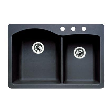 Blanco 440215-3 Diamond 3-Hole Double-Basin Drop-In or Undermount Granite Kitchen Sink, Anthracite