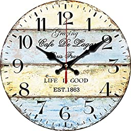 Grazing 12-inch Vintage Stripe Rustic Country Tuscan Style No Glass Wooden Decorative Round Wall Clock (Mediterranean)