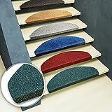 Lot de 15 marchettes d'escalier casa pura® en couleurs diverses | modèle Leipzig | adhésives et faciles à placer | bleu - 25x65cm...