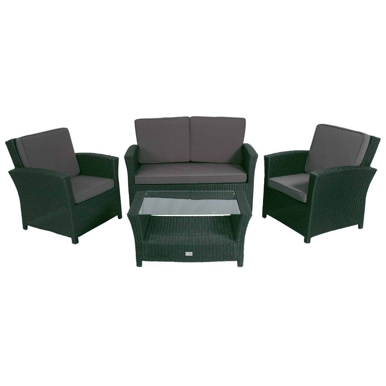 poly rattan lounge set 4tlg schwarz gartenm bel tisch glasplatte online bestellen. Black Bedroom Furniture Sets. Home Design Ideas