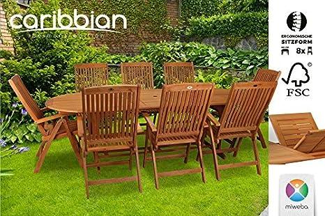Sitzgruppe Belmont Gartenset Sitzgarnitur 8 Personen Holz Gartenmöbel Gartengarnitur Tisch