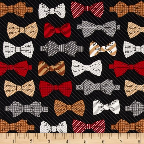 Fox and The Houndstooth Bowties Black Fabric