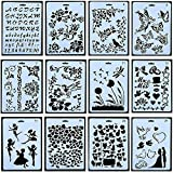 12pcs Drawing Painting Stencils Scale Template Sets 10 X 7 inch, Plastic Shapes Scrapbook Stencils Graphics Stencils for Children Creation,Scrapbooking (Color: 12pcs Drawing Painting Stencils)