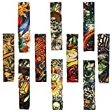10PCS Set Arts Fake Temporary Tattoo Arm Sunscreen Sleeves - AKStore - Designs Tiger, Crown Heart, Skull, Tribal and Etc