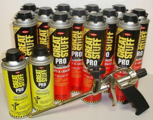 Dow Pro Gaps and Cracks 24 oz Gun Foam (12) + Great Stuff Pro 14 Dispensing Gun (1)+Great Stuff Pro foam Gun Cleaner (2) (Crack Cleaner compare prices)