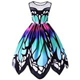Party Dress,Lamolory Womens Butterfly Printing Sleeveless Vintage Swing Lace Dress (Multicolor, XXL)
