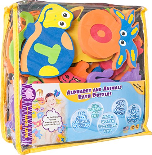 Educational-Bath-Toys-for-Toddlers-Alphabet-26-Puzzles-Letters-and-Animals-for-Bath-Premium-Large-Set-52-items-Baby-Bath-Toys-Guarantee-Foam-Letters-Safe-for-Kids