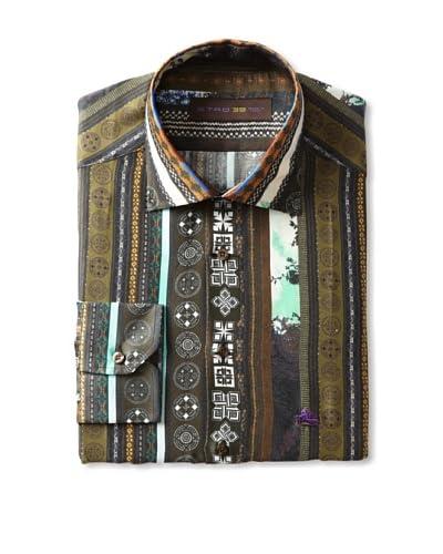 Etro Men's Spread Collar Border Pattern Long Sleeve Shirt