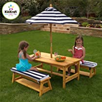Big Sale KidKraft Outdoor table and Chair Set with Cushions and Navy Stripes