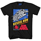 Star Wars Millennium Falcon Han Solo Chewbacca Chewie Kessel Run Video Game Funny Humor Pun Mens Adult Graphic Tee T-shirt (Black, Large) (Color: Black, Tamaño: Large)