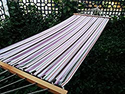 Hangit 11'FT cotton fabric outdoor hammocks for garden - Multicolor stripe