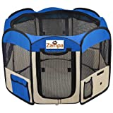 Zampa Pet Puppy Dog Playpen Exercise Pen Kennel. Indoor And Outdoor For Cats And Dogs (Blue)