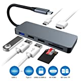 USB C Hub, 7-in-1 Type C Adapter with 4K HDMI Port, Aluminum Saleward Type C Hub, SD/TF Card Reader for Type C, USB 3.0×3 Ports for MacBook Pro, Chromebook and More (Color: Silver)