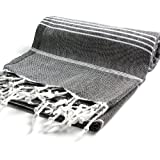 "Cacala 100% Cotton Pestemal Turkish Bath Towel, 37 x 70"", Black"