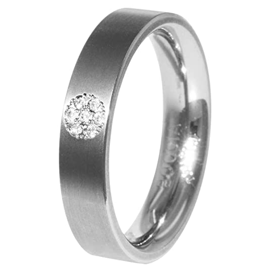 Boccia Titanium Unisex Ring Diamond 0.035 ct) Clear Brilliant Cut 0121 312-0567 Size 67 (21.3)