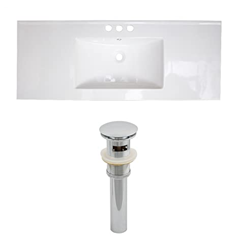 "Jade Bath JB-15510 48"" W x 18"" D Ceramic Top Set and Drain, White"