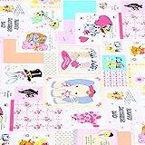 【FA40553】【50cm単位】LECIEN(ルシアン)ホールマークコレクションカード柄の生地(ピンク)