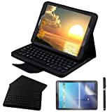 Galaxy Tab S2 9.7 Keyboard Case with Screen Protector & Stylus, REAL-EAGLE Separable Fit PU Leather Case Cover Magnetically Bluetooth Keyboard for Tab S2 9.7 Inch SM-T810 T813 T815 T819, Black (Color: Black, Tamaño: Samsung Galaxy Tab S2 9.7)