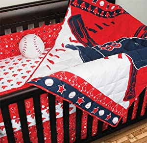 MLB Boston Red Sox Crib Bedding - 4pc Baseball Baby Quilt Bed-in-Bag by Sports Coverage