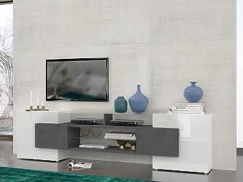 Slave 266450 Meuble TV avec 4 Portes/Etagère/Niches Verre/Panneaux de Particules/ Blanc Marbre 241 x 33 x 62 cm