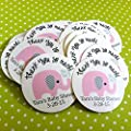 Personalized Pink Grey Elephant Thank You Stickers Label Baby Shower Party Favors - Set of 60
