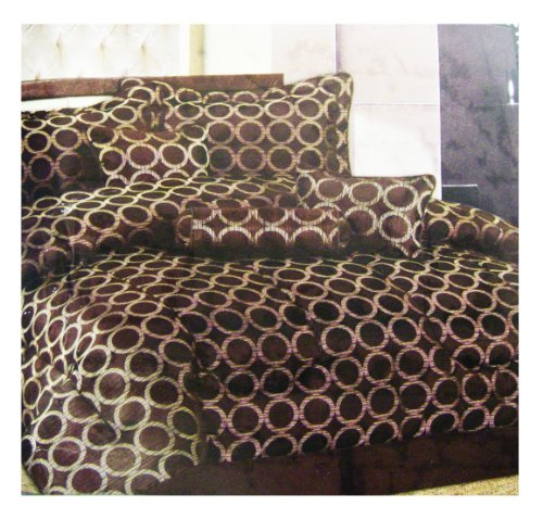 Spring Collection -7pcs Bedding Set - Queen size Bed In A Bag (Café)