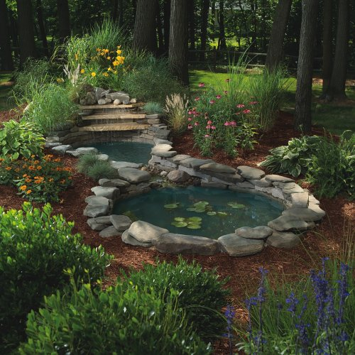Sunterra 370012 sunterra waterfall gardens complete pond for Garden pond kit