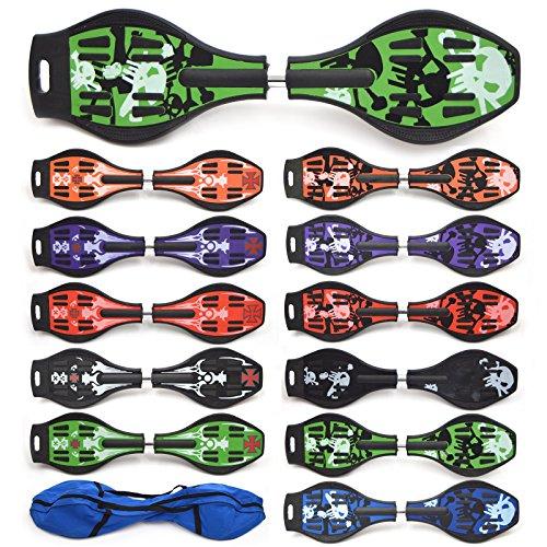 Waveboard Skateboard Apollo! Colore: Green Skull, ABEC-7 incl. borsa, lunghezza: 85.5 cm /33.66 inch - larghezza: 22.5 cm / 8.86 inch