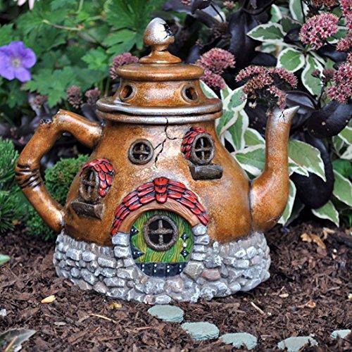 """Fiddlehead Fairy Village - """"Tea Pot House"""" Fairy Home with Bonus Novelty Fairies Bill and Log Cabin Coin"""