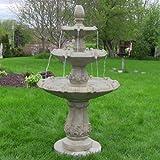 Sunnydaze Classic Pineapple Three-Tier Fountain, Garden Stone Finish, 55 Inch Tall