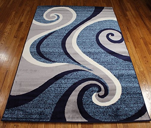 New 32 Swirl Blue Navy White Light Gray Area Rug Abstract