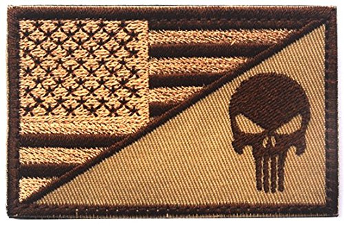 WZT Punisher American Flag Patch Military Patch / Velcro Mor
