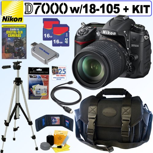 Nikon D7000 16.2MP DX-Format CMOS Digital SLR Camera with 18-105mm f/3.5-5.6 AF-S DX VR ED Nikkor Lens + 32GB Deluxe Accessory Kit
