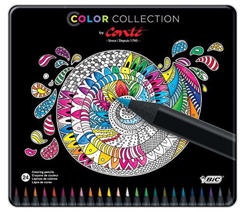 BIC Color Collection By Conte Coloring Pencils, Assorted Colors, 24-Count