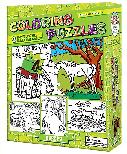 Cobble Hill Coloring Puzzles: Horses Jigsaw Puzzle, 24-Piece