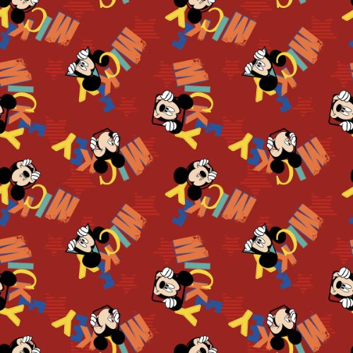 Springs Creative - Fabric Disney Mickey Everyday Out to Play Word Toss Fabric, Sold by The Yard, 43/44-Inch, Red
