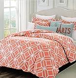 Max Studio Modern Lattice Geometric Pattern Queen/Full 3pc Duvet Cover Set Coral Red Orange