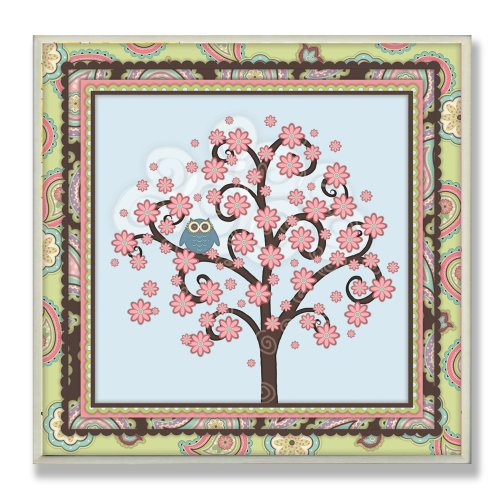 The Kids Room by Stupell Blue Owl in a Tree with Paisley Border Square Wall Plaque