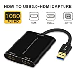 HDMI Capture,HDMI to USB 3.0,Full HD 1080P Live Video Capture Game Capture Recording Box,HDMI USB 3.0 Adapter Video and Audio Grabber for Windows, Mac OS and Linus System,Black,IF-LINK (Color: Black)